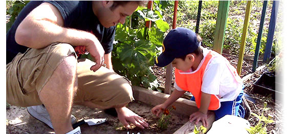 Medical student teaching a member of the Latino Gardening & Nutrition Program how to plant a vegetable garden. This program was organized through a partnership between the Allied Wellness Center and the Office of Community Service Programs at the University of Wisconsin School of Medicine and Public Health. Website: http://www.med.wisc.edu/education/md/communityservice/main/148